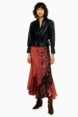 Topshop Womens Mixed Print Spiral Midi Skirt - Rust