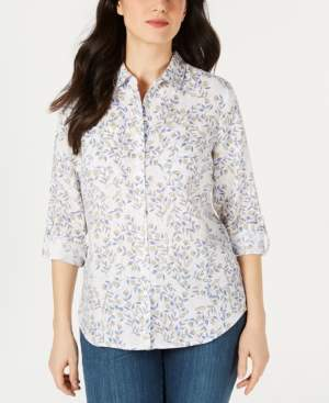 5b93eea5200ae Charter Club Printed Linen Button-Up Top