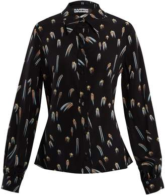 ROCKINS Shooting-star print point-collar silk blouse