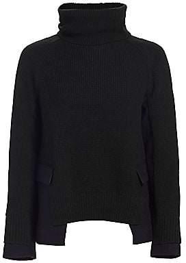 Sacai Women's Ribbed Melton Wool Pullover Sweater