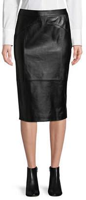 HUGO Limoni Leather Midi Pencil Skirt