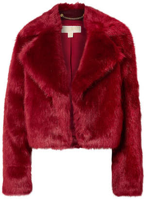 MICHAEL Michael Kors Cropped Faux Fur Jacket - Burgundy