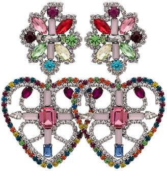 Dannijo Rainbow Camellias Heart Earrings