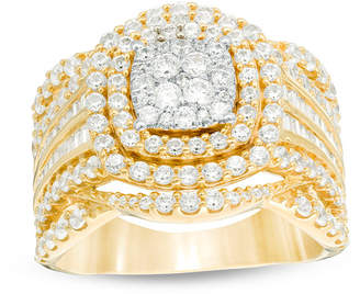 Zales 2 CT. T.W. Composite Diamond Cushion Frame Multi-Row Ring in 10K Gold