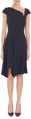 Roland Mouret Asymmetric-Neck Cap-Sleeve Fit-and-Flare Crepe Dress w/ Handkerchief Hem