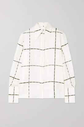 Victoria Beckham Checked Silk-twill Shirt - Ivory