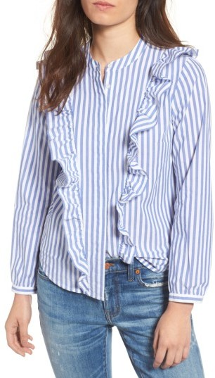 Women's Madewell Whitney Stripe Ruffle Blouse