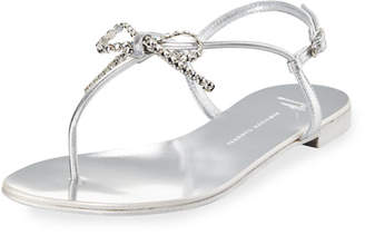 Giuseppe Zanotti Metallic Leather Bow Thong Sandal