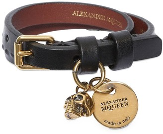 Alexander McQueen Studded Leather Bracelet W/ Charm