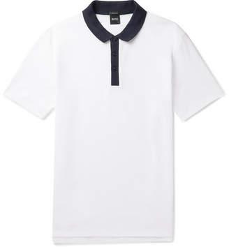 HUGO BOSS Honeycomb Cotton Polo Shirt - White