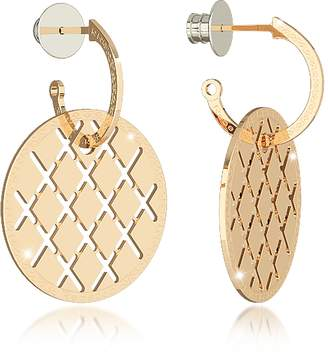 Rebecca Melrose Yellow Gold Over Bronze Drop Hoop Earrings