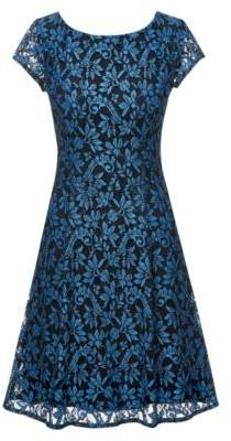HUGO Boss Scoop-neck A-line dress in floral lace 2 Open Blue
