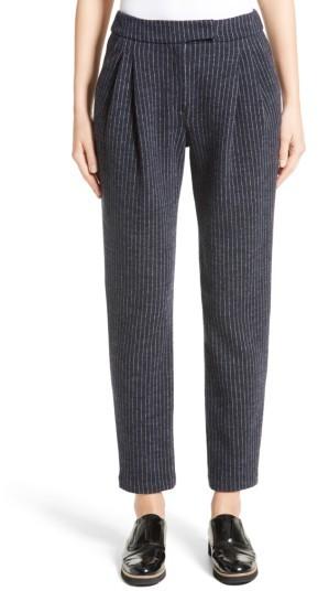 Women's Armani Collezioni Pinstripe Pleat Front Jersey Pants