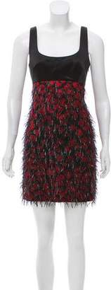 Milly Fringe-Accented Jacquard Dress w/ Tags