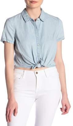 Frame Shrunken Tie Front Crop Denim Shirt