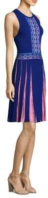 Versace Contrast Pleated A-Line Dress