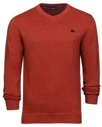 RAGING BULL Raging Bull - Orange V-Neck Cotton And Cashmere Sweater
