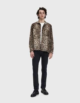 Gitman Brothers Need Supply Co. Faux Leopard Fur Camp Collar Shirt