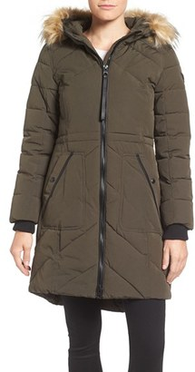 Women's Guess Quilted Anorak With Faux Fur Trim $228 thestylecure.com