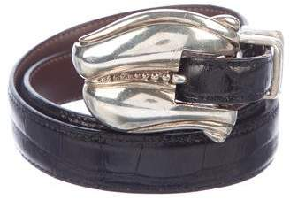 Kieselstein-Cord Skinny Alligator Belt