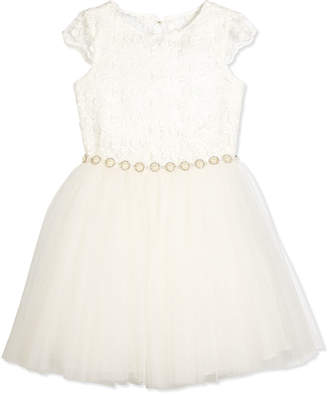 David Charles Cap-Sleeve Lace & Tulle Special Occasion Dress, Ivory, Size 8-12