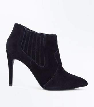 New Look Black Suede Pointed Western Shoe Boots
