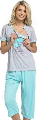 HAPPY MAMA Womens Maternity Top Nursing Pyjamas Crop Pants Nightwear. 517p (, US 6/8, L)