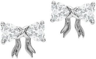 14K White Gold Gemstone Birthstone Bow Post Earrings