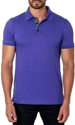 Jared Lang Semi-Fitted Short-Sleeve Cotton-Blend Polo Shirt, Lilac