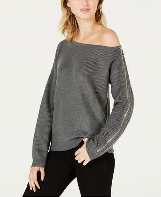 Bar III Ribbed Zipper-Sleeve On or Off Shoulder Sweater