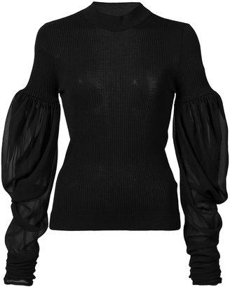 Vera Wang puff sleeve jumper $625 thestylecure.com