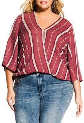 City Chic Plus Paprika Spice Striped Top