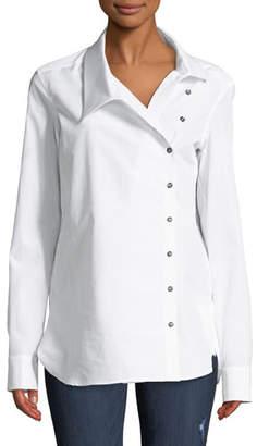 Monographie Classic Crossover Button-Front Cotton Shirt
