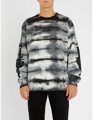 Amiri Dagger-motif tie-dye cotton-jersey sweatshirt
