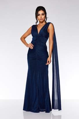 3d7a86564504 Quiz Royal Blue Mesh V Neck Ruched Fishtail Maxi Dress