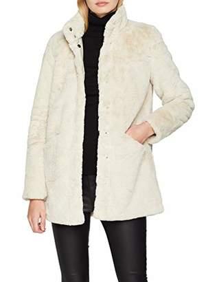 Only Women's Onlvida Faux Fur Coat OTW, Grey Pumice Stone, (Size: Large)