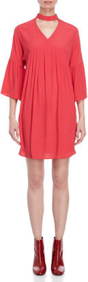 Atos Lombardini Pleated Buckle Choker Dress