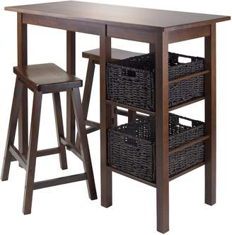 Winsome Wood Egan 5-Piece Table with 2 24-Inch Saddle Seat Stools and 2 Baskets