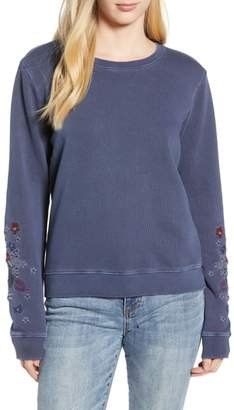 Lucky Brand Embroidered Flowers Sweatshirt