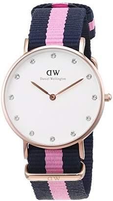 Daniel Wellington Women's Quartz Watch with White Dial Analogue Display and Multicolour Nylon Strap 0952DW