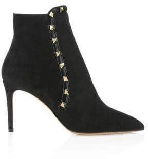 Valentino Rockstud Suede Ankle Booties