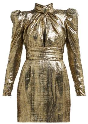 Dundas Puffed Sleeve Silk Blend Lame Mini Dress - Womens - Bronze