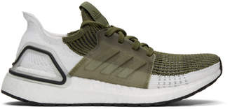 adidas Khaki and White UltraBOOST 19 Sneakers