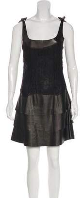 Valentino Leather-Trimmed Mini Dress