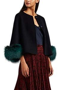 Barneys New York Women's Fur-Trimmed Wool-Cashmere Melton Jacket - Navy
