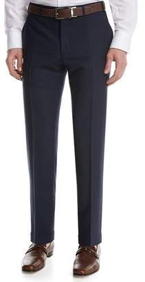 Canali Solid Wool Flat-Front Pants, Blue $425 thestylecure.com