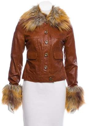 Rachel Zoe Faux Fur-Accented Leather Jacket w/ Tags