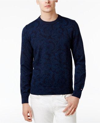 Tommy Hilfiger Men's Paisley Cotton Sweater $110 thestylecure.com