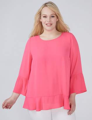 Lane Bryant Pleated Bell-Sleeve Top