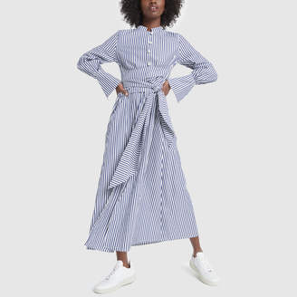 Mother of Pearl Long-Sleeve Shirt Dress with Waist-Tie